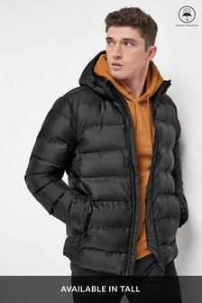 Black Shower Resistant Heat Seal Quilted Jacket With Fleece Lining