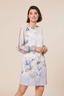 Ecru Floral Border Print Dress