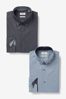 Blue Regular Fit Single Cuff Shirts Two Pack