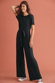 Black Rib Jersey Jumpsuit