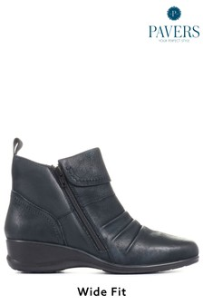 Pavers Blue Navy Ladies Dual Zip Leather Ankle Boots