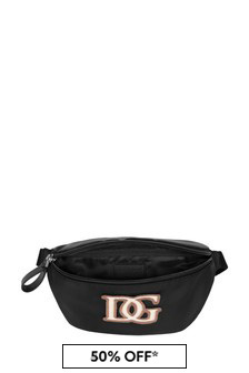 Boys Black Leather Logo Bum Bag