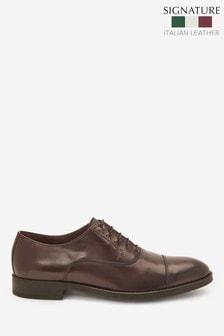 Burgundy Signature Italian Leather Toe Cap Shoes