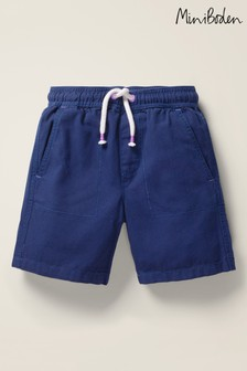 Mini Boden Blue Washed Canvas Pull-On Shorts