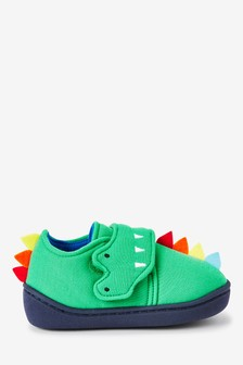 Green Crocodile Spike Strap Touch Fasten Cupsole Slippers (Younger)