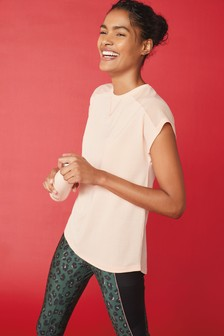 Blush Short Sleeve Mesh Panel T-Shirt