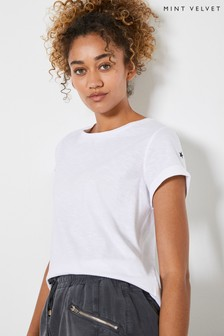 Mint Velvet White Cotton Star T-Shirt