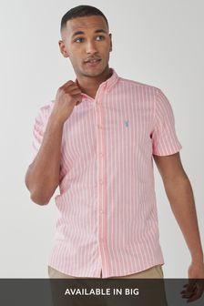 Coral Slim Fit Stripe Short Sleeve Stretch Oxford Shirt