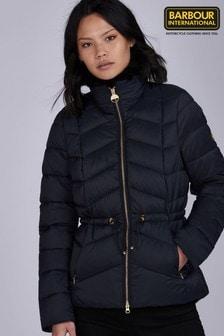 Barbour® International Padded Faux Fur Trim Halfback Jacket