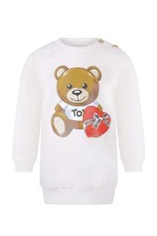 Baby Girls Ivory Cotton Fleece Teddy Dress