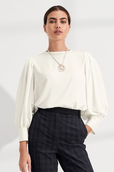 Ecru Puff Long Sleeve Top