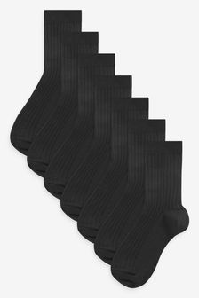 Black 7 Pack Ribbed Cotton Rich Socks (Older)