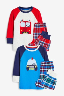 Red/Blue Emergency Vehicles 2 Pack Check Pyjamas (9mths-10yrs)