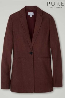 Pure Collection Brown Longline Linen Blazer