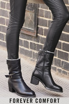 Black Forever Comfort® Buckle Borg Lined Heeled Boots