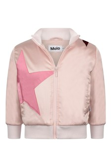 Girls Pink Star Zip Up Top