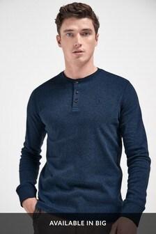 Navy Long Sleeve Grandad Top