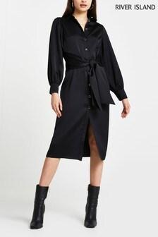 River Island Black Tie Front Shirt Midi Dress