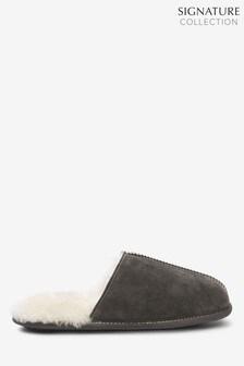 Grey Signature Suede Sheepskin Mule Slippers
