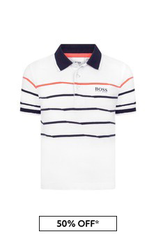 Boss Kidswear BOSS Boys White Cotton Polo Shirt