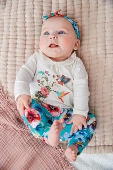Teal/Ecru 3 Piece Floral Set (0mths-2yrs)