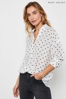Mint Velvet White Spot Print Throw On Shirt
