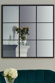 Antique Silver Metal 9 Section Square Wall Mirror by Pacific Lifestyle