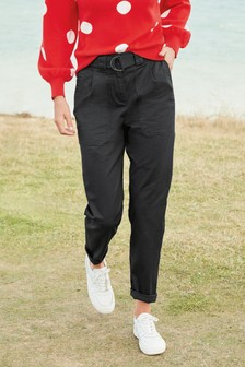 Black Cotton Rich Belted Taper Trousers