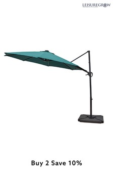 Maple 3.0M SolarPowered Cantilever Parasol Forest Green By LG Outdoor