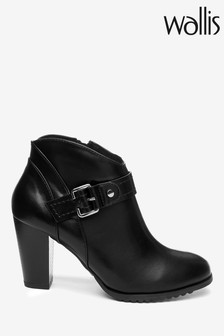 Wallis Adaline Black Curved Topline Buckle Boots