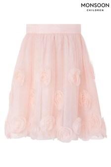 Monsoon Pink 3D Roses Skirt