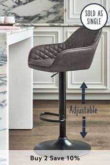 Monza Faux Leather Grey Hamilton Adjustable Black Leg Bar Stool
