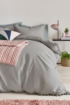 Silver Pom Pom Duvet Cover And Pillowcase Set