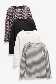 Monochrome Animal 4 Pack Long Sleeve Ribbed Tops (3-16yrs)