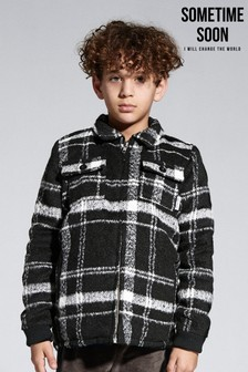Sometime Soon Black Check Fleece Jacket