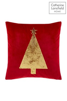 Sequin Christmas Tree Cushion by Catherine Lansfield