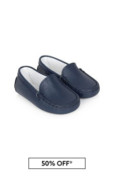 Tods Baby Boys Navy Leather Loafers