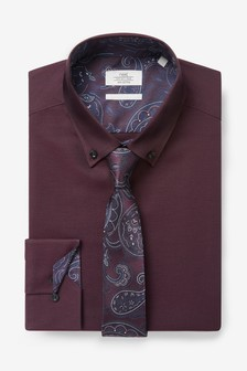 Burgundy Slim Fit Single Cuff Cotton Tonic Shirt And Tie Set