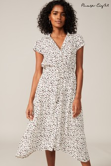 Phase Eight White Afia Ditsy Spot Shirt Dress