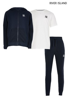 River Island Navy Hoodie, T-Shirt And Joggers 3 Piece Set