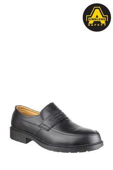 Amblers Safety Black FS46 Mocc Toe S1P SRC Safety Slip-On Shoes