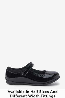 Black Patent Wide Fit (G) Leather Mary Jane Brogues