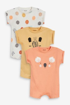 Modern Faces 3 Pack T-Shirt Rompers (0-3yrs)