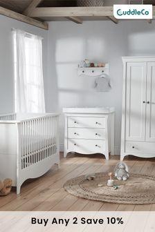 White Clara 3 piece White Nursery Furniture Set - Cot Bed, Dresser & Wardrobe By Cuddleco