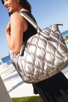 Pewter Quilted Large Shopper Bag