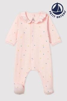 Petit Bateau Pink Heart Sleepsuit
