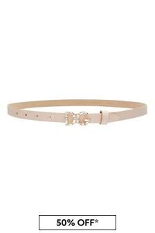 Girls Pink Leather Belt