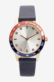 Navy Sporty Dial Strap Watch
