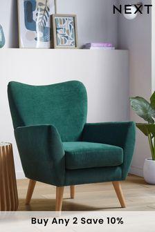 Fine Chenille Dark Teal Wilson Accent Chair With Light Legs