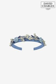 David Charles Blue Pearl Roses Hairband
